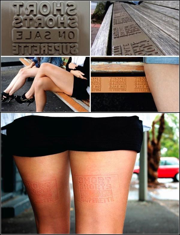 Креативная реклама на женских ногах